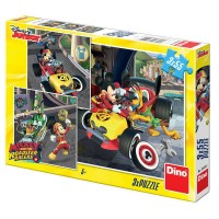 Puzzle 3 in 1 - Cursa lui Mickey Mouse (3 x 55 piese)